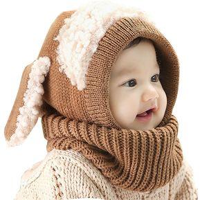 Sombrero de oreja de conejo de invierno para niños - Marrón e1c6758d9b9