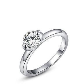 81aff278daa8 Diamante Anillo Cristal Platino Plateó Circón Anillo - Platino