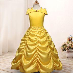 b4b23a9332 Hermoso Vestidos De Princesas Para Niñas -amarillo