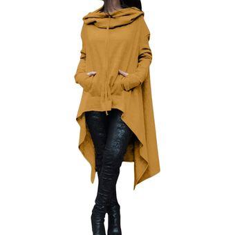 3838ebfb828d Suéter con capucha largo irregular de color sólido nuevo para mujer-amarillo