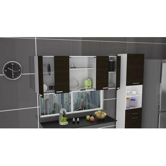 Compra gabinete superior 150 cm vidrio con puertas wengue - Montador de muebles de cocina ...