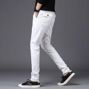 Pantalones Coreanos Para Hombre Pantalones Negros Pantalones Blancos Para Hombre Ropa De Kpop Para Hombre Pantalones Elasticos Solidos De Algodon Adelgazantes Para Hombre Gray Linio Mexico Ge598fa1hknzzlmx