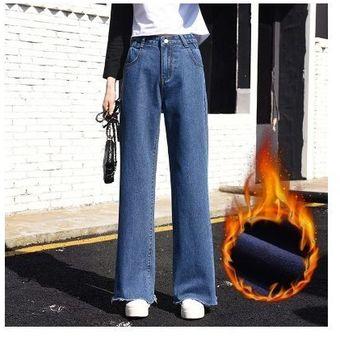 Pantalones Vaqueros Gruesos De Vellon Pantalones Anchos Para Mujer Pantalones Casuales Rectos Delgados Linio Colombia Oe189fa0xsd75lco