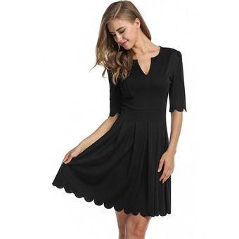 c57af2143822 Vestido Polisado Con Manga Al Codo Para Mujer-Negro