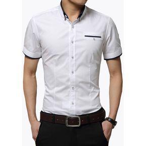 Camisa Hombre Diseño Doble Cuello Manga Corta - Blanco 354f7d72fb478