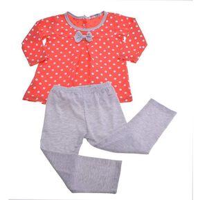 480871db3 Conjunto De Blusa + Legging Pantalones Lazos Puntos Para Niñas-Rojo