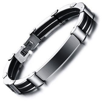 636274270c0a Pulsera de brazalete de Silicona curva los hombres Joyas-Negro