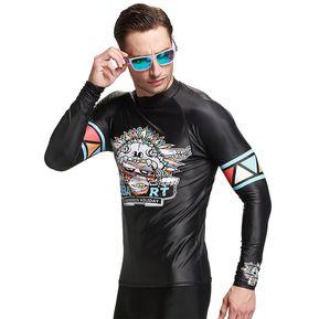 f72bacbab6a84 Traje de Baño Hombre Camiseta Manga Larga Surf Proteccion Solar Negro