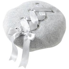 Mujer dulce hembra Boina Sombrero de lana correa suave de la cinta para  otoño invierno Gris 9d197ebabb8
