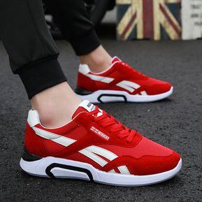 e4a11d2ce Nuevos zapatos transpirables deportivos y de ocio para hombre-Rojo