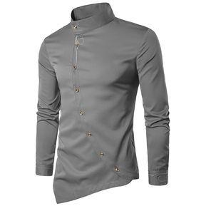 7749108df Camisa Con Botones Oblicuos E-Thinker Para Hombre - Gris