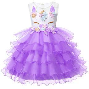 7a4b81040 Unicornio Vestido para Niñas Vestidos de Princesa- púrpura