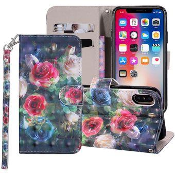 Rose Flower Pattern Dibujo Coloreado Horizontal Flip Funda De Cuero Para Iphone X Xs Con Titular Y Ranuras Para Tarjetas Y Billetera Y Lanyard
