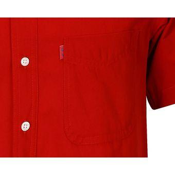 Camisa Caballero Manga Corta Polycotton Hombre Uniforme Empresarial  Ejecutivo Oficina Color-Rojo 82f2686bf4109