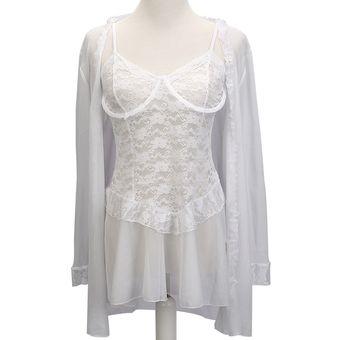 e9dde8e3d8 3 Piezas Lenceria Mujer Con Vestido Corto De Encaje + Tanga + Capa De Gasa