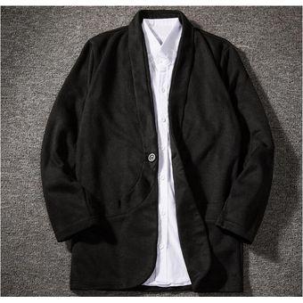 baratas para descuento e53ea a583a Hombre personalidad bolsillo diseño medio abrigo negro