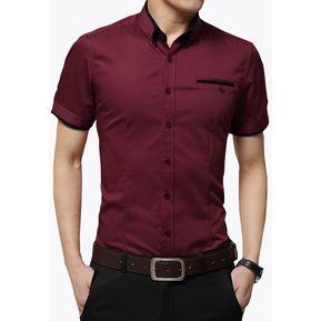 3c9643935a Camisa Hombre Diseño Doble Cuello Manga Corta - Morado