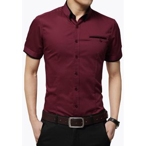 Camisa Hombre Diseño Doble Cuello Manga Corta - Morado a4d8ecc2dc6