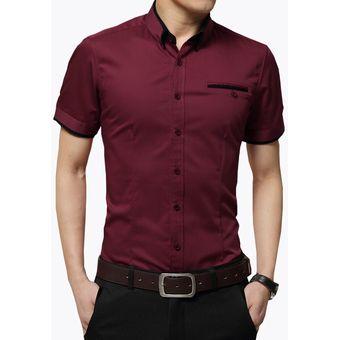 Compra Camisa Hombre Diseño Doble Cuello Manga Corta - Morado online ... 6a5ca36d4bc1c