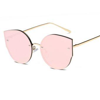 fd54edd7fd Rimless Lentes Planos Bastidor De Metal UV400 Gafas De Sol Para Mujer