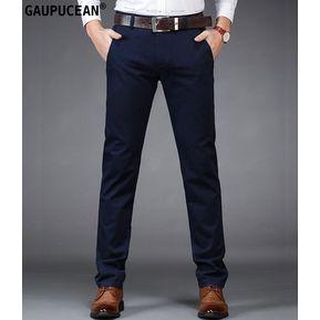 1873099317 Pantalones Casual Algodón Formal Gaupucean Para Hombre-Armada