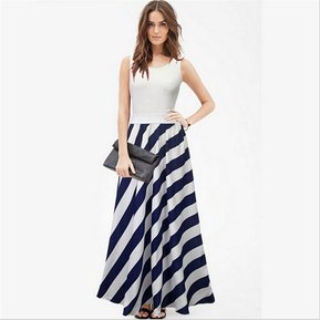Vestido largo sin mangas a rayas sin mangas para mujer-BLANCO c914a4a21531