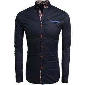 Camisa Con Bolsillo Delantero Yucheer Para Hombre-Azul e933c86a43e