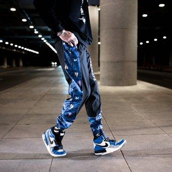 Ropa De Calle Pantalones Militares De Hip Hop Para Hombres Pantalones De Chandal Con Bolsillos Laterales De Retales De Tela Nuevas Cintas Para Correr Pantalones Hasta El Tobillo Para Hombre W163 Black