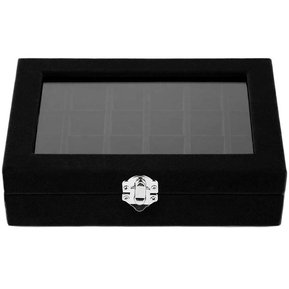 de41caf14225 24 Slots Velvet Desk Jewelry Storage Box Ring Necklace Jewelry Carrying  Case black