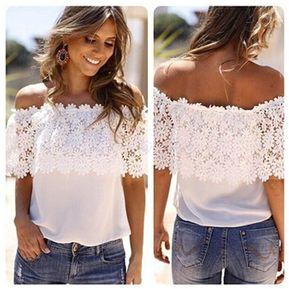 5d02fd7da0 Blusa de Gasa Patchwork para Mujer-Blanco