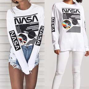 Sudaderas Mujer Con Estampados De NASA Y Planeta - Blanco 7c623943d686