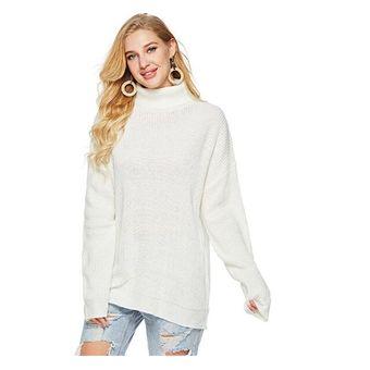 Compra Jersey de cuello alto mujer Blanco online  6878619f4c0a