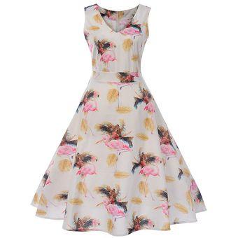 0b087e7d3 Compra Vestidos Vintage Florales Estampados-Naranja online