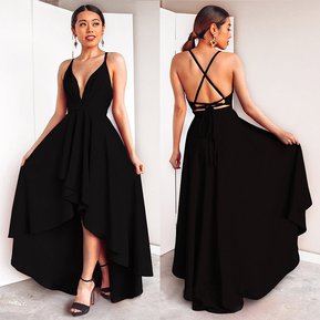 5c6173de Vestido Casual Generico Sling sexy profunda V larga Vestido - Negro