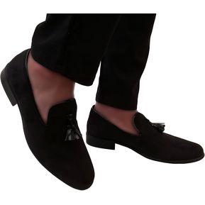 Zapatos Loafer Para Hombre Romano OutFit Negro Gamuza 363610eaf9b5