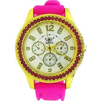 76ecef7a373d Agotado Reloj Para Mujer Sof Relojes Joyeria Señora De Mano Remate Fucsia  Dorado