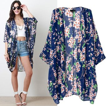 Negro, L Flores Impresi/ón Suelto Kimono Moda Chaqueta Covermason Mujer Gasa C/árdigan