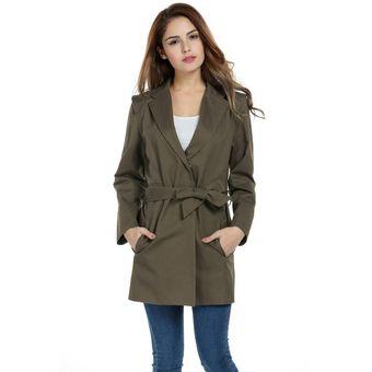 Abrigo Chaqueta Estilo Vintage Solapa Larga Gabardina Con Cinturón Yucheer Para  Mujer -Verde Ejercito 3ab1222f343d
