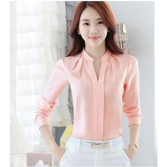 fb967ea5b2bb Mujer camisa Blusa de gasa mangas largas cuello V estilo elegante y comodo  de color rosado