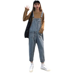 39ea6bc5fd1 Casual Denim Monos Mujer Jeans Monos Jeans Pierna ancha