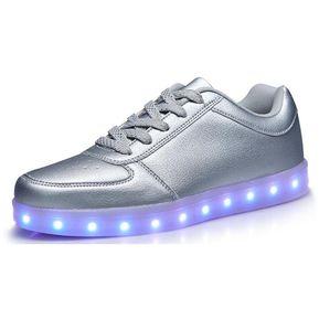 Deportivas LED Zapatillas Y Colores De Mujeres Con Plata Luces Para Hombres qddwpTC