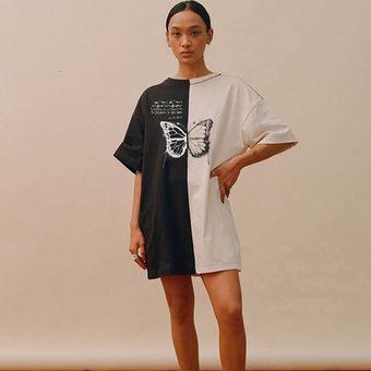 Rockmore Camisetas De Tallas Grandes Para Mujer Estampado De Mariposa En Colores Contrastantes Ropa De Calle Camisetas De Senora De Manga Corta Y Cuello Redondo Camisas Harajuku Long Tshirt Fuc Linio Peru