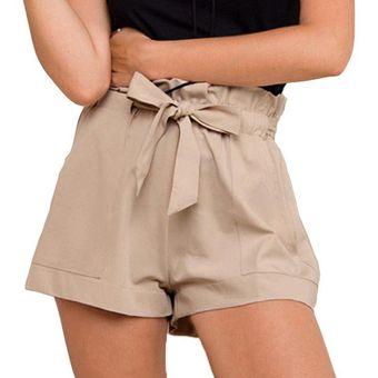 Mini Pantalones Cortos De Cintura Alta Para Mujer Pantalones Cortos Informales De Color Solido Para Verano Y Playa Pantalones Cortos Con Fajas A La Moda Para Mujer Superventas As Photo Show Linio