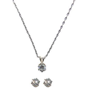 14b67ca85cd1 Compra Set Collar + Aros Mujer Cristales Swarovski -Blanco online ...