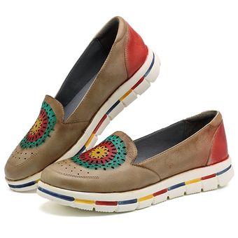 Zapatos Soft A Plano Hueco Cuero Zapato Socofy Hecho Casual Mano kw0OP8nX