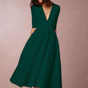 28d0826e9e Vestido de Oficina E-Thinker con V cuello y mediano manga para mujer - Verde