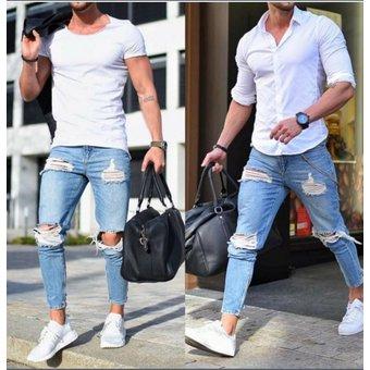3b5f6804b0 Jeans Pitillo Rasgados Para Hombres Pantalones Lápiz Denim Angustiados