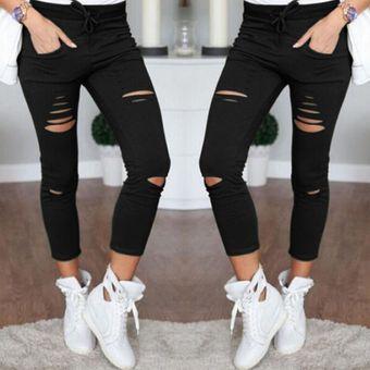 compra genuina 2019 real comprar baratas Pantalones Slim Para Mujer Con Verdugón De Tela Algodón - Negro