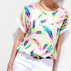 e60fd1f32c Blusa Casual Manga Corta para Mujer-Blanco