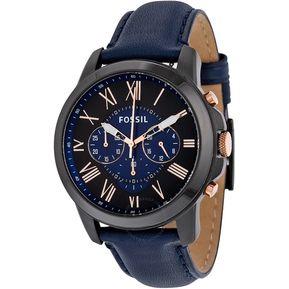 7523e2e81fa0 Reloj Fossil Grant FS5061 Analógico Correa De Cuero Para Hombre - Negro Y  Azul